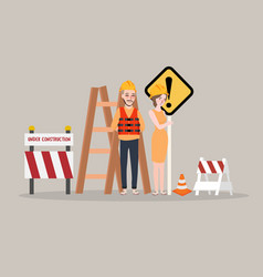 Under construction page man woman worker on vector