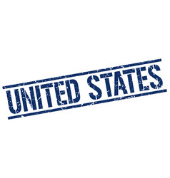 United states blue square stamp vector