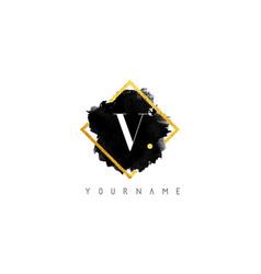 v letter logo design with black stroke and golden vector image