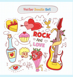 valentines day doodle set vector image