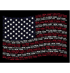 Waving american flag stylization of new york text vector