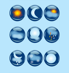 Weather icons on blue vector