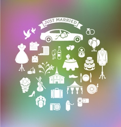 Wedding Icons on Blurred Background vector