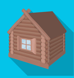 wooden log cabin hut architectural structure vector image