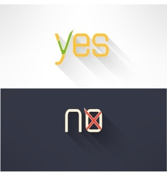 Yes and no button checkmark in modern flat design vector