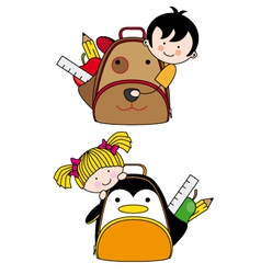 Children with backpacks vector image vector image