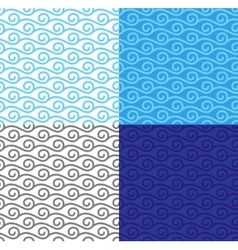 Curly linear waves seamless pattern set vector image vector image