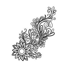 Hand drawn decorative floral element vector image