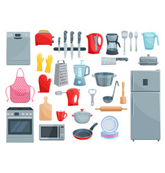 kitchen appliances and dishware icons set vector image vector image