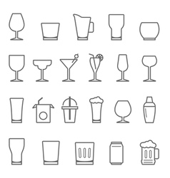 Lines icon set - glass and beverage vector image