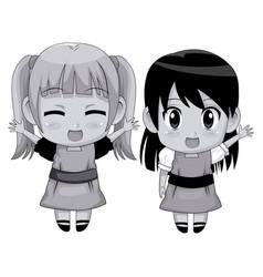 Monochrome full body couple cute anime girl facial vector