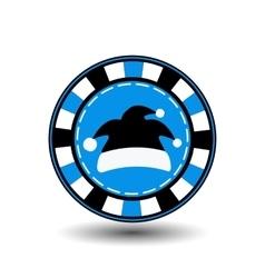 poker chip Christmas new year Santa Claus cap vector image vector image