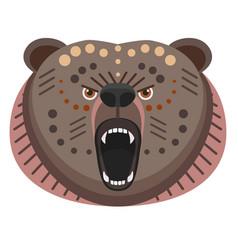 roaring bear head logo decorative emblem vector image