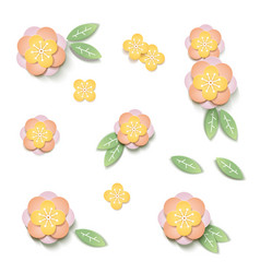 set for design with flowers paper cut art vector image
