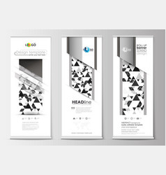 set of roll up banner stands flat design vector image