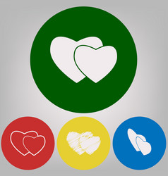 two hearts sign 4 white styles of icon at vector image vector image
