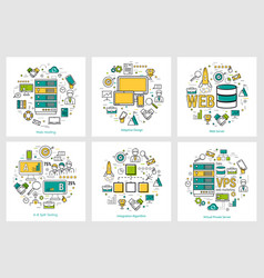 web development - linear round concepts vector image vector image