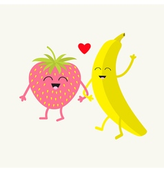 Banana and strawberry Happy fruit set Smiling face vector image vector image