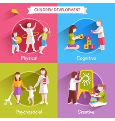 Children Flat Set vector image