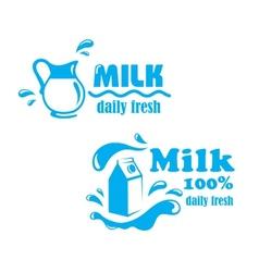 Fresh farming milk emblem vector image vector image