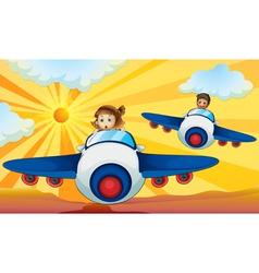 Kids Flying Aeroplanes vector image vector image