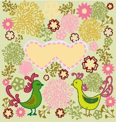 pattern birds in love heart shape vector image vector image