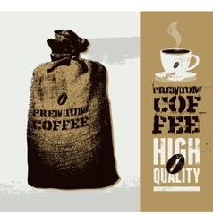 Premium coffee grunge retro background vector image vector image