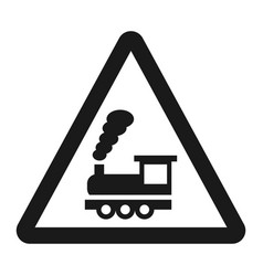 Railroad crossing without barrier sign line icon vector