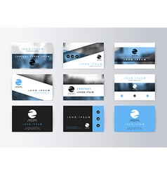Set of business cards blue background Template vector image