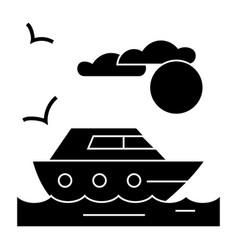 travel sea yacht icon sig vector image