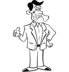 cartoon smiling man giving thumbs up vector image vector image