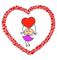 heart sketch design for valentine vector image vector image