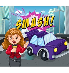 News reporter reporting car accident vector image