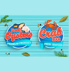 seafood emblems on blue wooden background vector image vector image