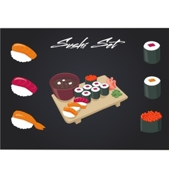 Sushi set Soy sauce and roll Japanese food vector image vector image