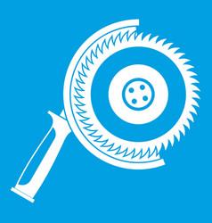 Circle saw icon white vector