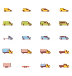 commercial transport icons vector image vector image