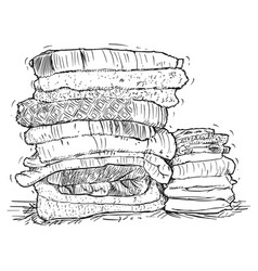 Hand drawing of stack of towels vector