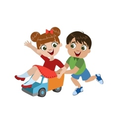 Kids Playing With Toy Truck vector image