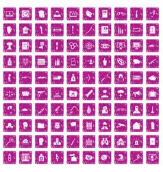 100 violation icons set grunge pink vector