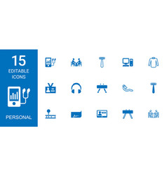 15 personal icons vector image