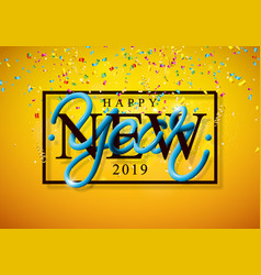 2019 happy new year with 3d vector