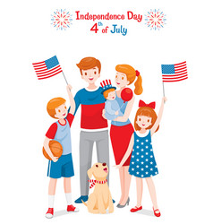 American family celebrating 4th july vector