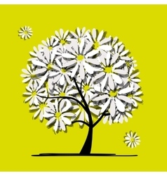 Art tree with camomiles for your design vector