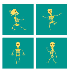 Assembly flat skeleton halloween monster vector