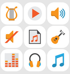 Audio flat icons set collection of ear muffs vector