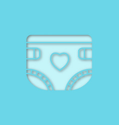 Baby diaper paper cut out icon vector