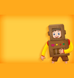 Background template design with boy in robot vector