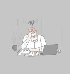 Bankruptcy burnout collapse concept vector