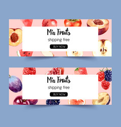 Banner design with various fruits concept vector